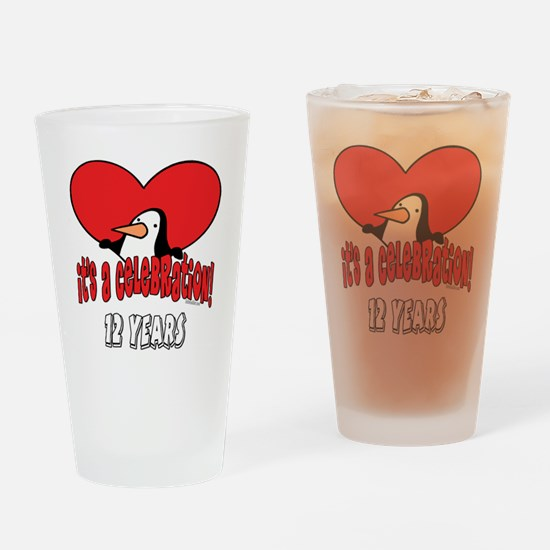 12th Celebration Drinking Glass