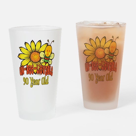 Un-Bee-Lievable 90th Drinking Glass