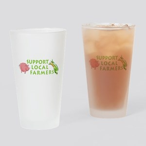 Support Local Farmers Drinking Glass