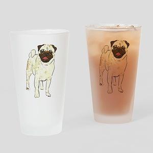 Happy Pug Drinking Glass