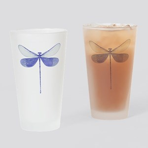 Blue Dragonfly Drinking Glass
