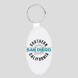 San Diego California Aluminum Oval Keychain