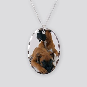 Boxers 2 Necklace Oval Charm