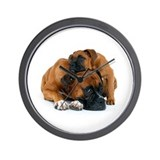 Boxer dogs Wall Clocks