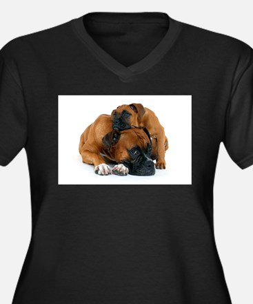 Boxer 3 Women's Plus Size V-Neck Dark T-Shirt