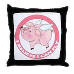 Inspirational Flying Pig Throw Pillow