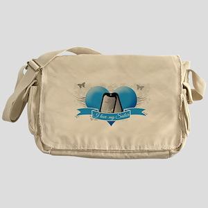 Heart & Butterflies NAVY Messenger Bag