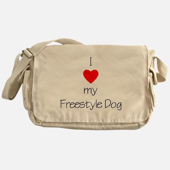 I Love My Freestyle Dog Messenger Bag