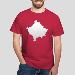 Kosovo Map Silver Dark T-Shirt