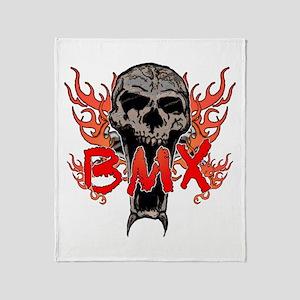 BMX skull 2 Throw Blanket