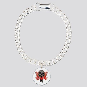 BMX skull 2 Charm Bracelet, One Charm