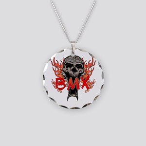 BMX skull 2 Necklace Circle Charm
