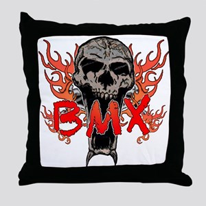 BMX skull 2 Throw Pillow