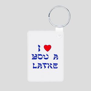 I Love You a Latke Aluminum Photo Keychain