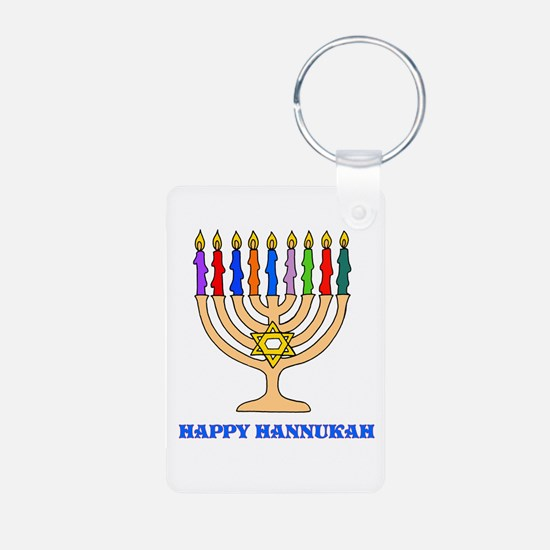 Hannukah Menorah Aluminum Photo Keychain