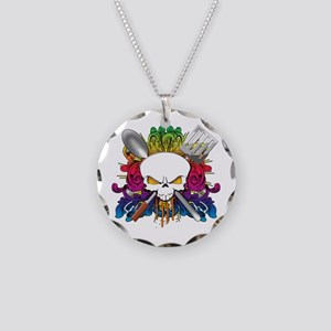 Chef Skull Necklace Circle Charm