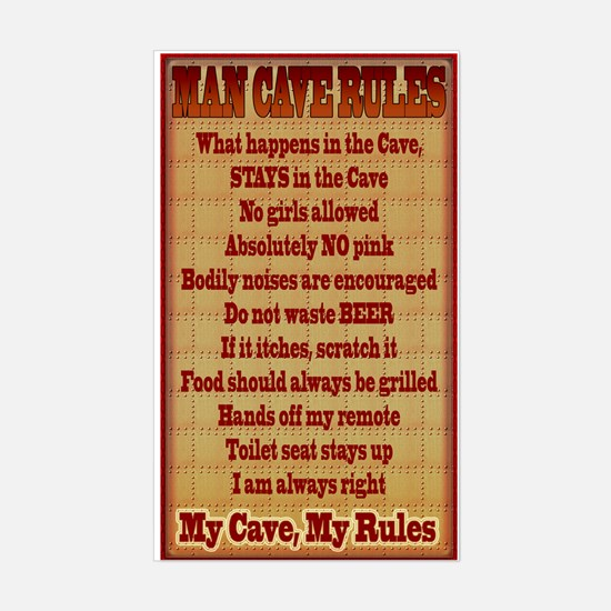 Man Cave Rules Sticker (Rectangle)