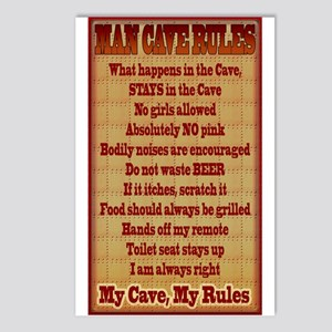 Man Cave Rules Postcards (Package of 8)