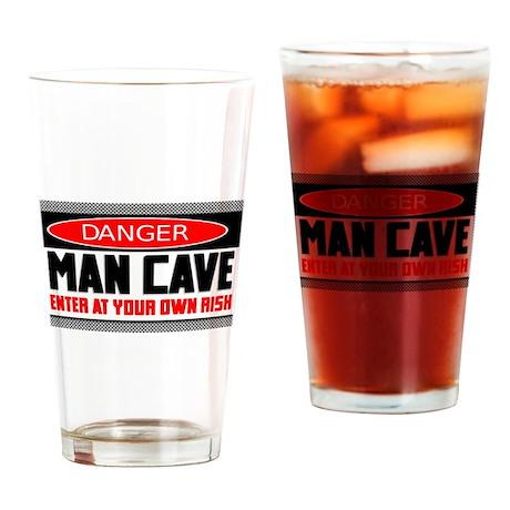 Danger Man Cave Drinking Glass