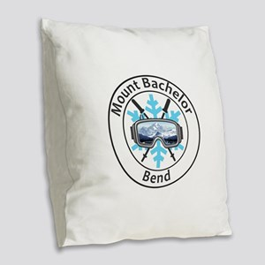 Mount Bachelor - Bend - Oreg Burlap Throw Pillow