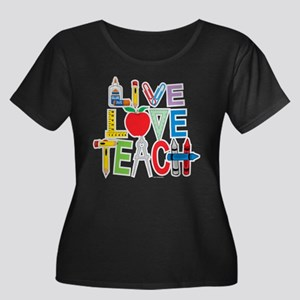 Live Love Teach Women's Plus Size Scoop Neck Dark