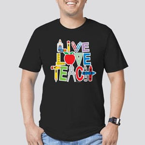 Live Love Teach Men's Fitted T-Shirt (dark)