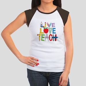 Live Love Teach Women's Cap Sleeve T-Shirt