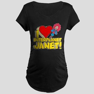 I Heart Interplanet Janet! Maternity Dark T-Shirt