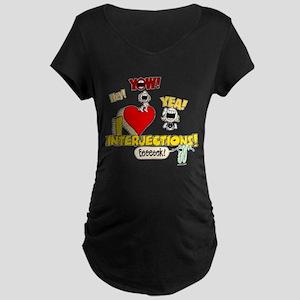I Heart Interjections Maternity Dark T-Shirt