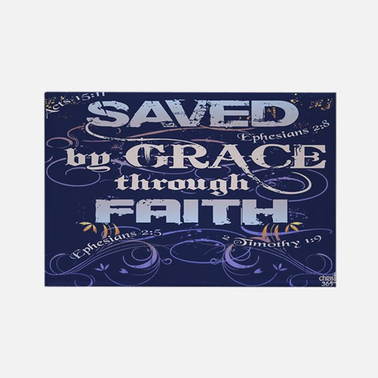 Saved by Grace Rectangle Magnet