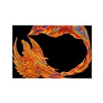 Flaming Phoenix Rectangle Magnet