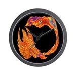 Flaming Phoenix Wall Clock