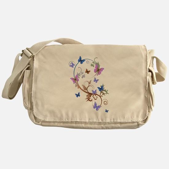Blue & Purple Butterflies Messenger Bag