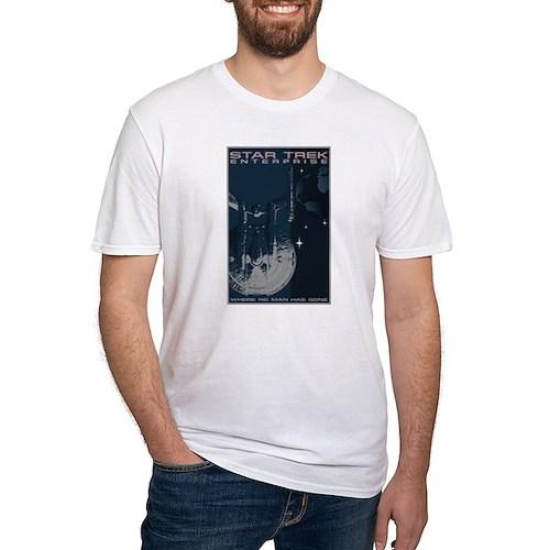 Retro Star Trek: Enterprise Poster Fitted T-Shirt