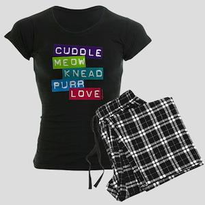 Cuddle Meow Knead Purr Love Women's Dark Pajamas