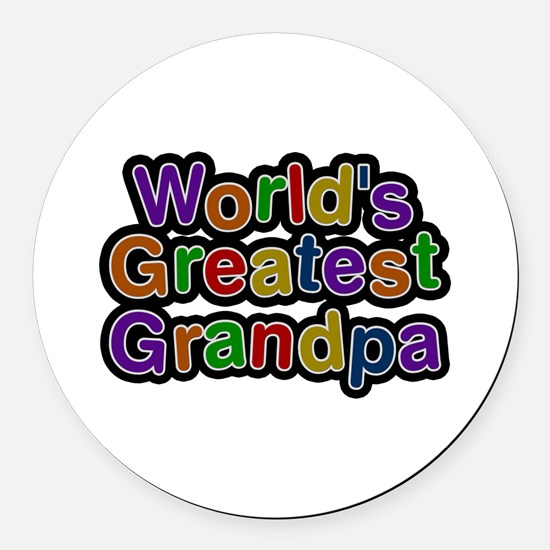 World's Greatest Grandpa Round Car Magnet