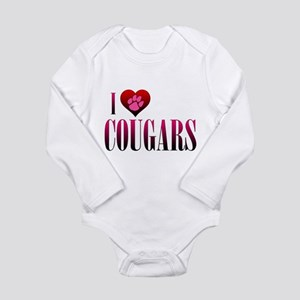 I Heart Cougars Long Sleeve Infant Bodysuit