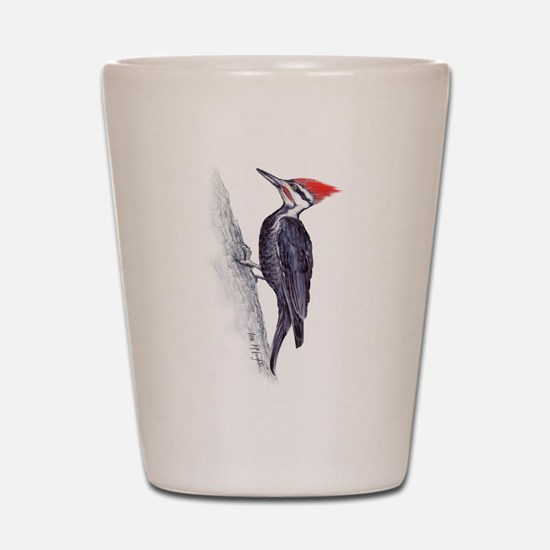handsome pileated woodpecker Shot Glass