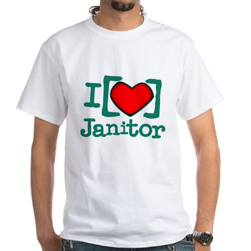 I Heart Janitor White T-Shirt