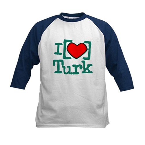 I Heart Turk Kids Baseball Jersey