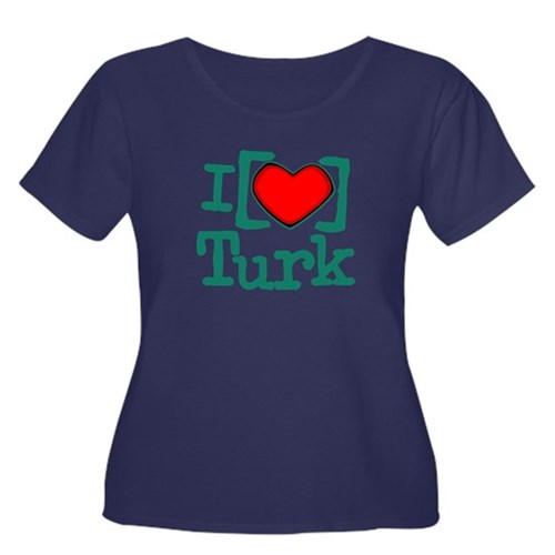 I Heart Turk Women's Plus Size Scoop Neck Dark T-S