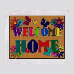 Welcome Home Sign Throw Blanket