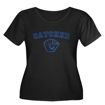 Catcher - Blue Women's Plus Size Scoop Neck Dark T