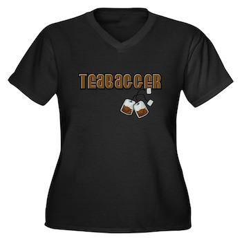 Teabagger Women's Plus Size V-Neck Dark T-Shirt