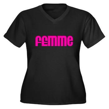 Femme Women's Plus Size V-Neck Dark T-Shirt