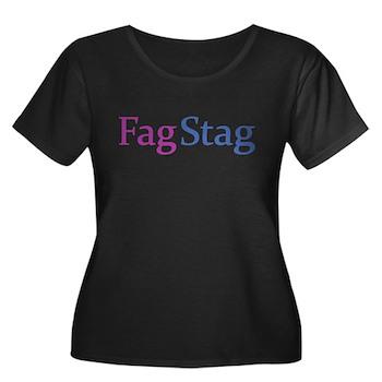 Fag Stag Women's Plus Size Scoop Neck Dark T-Shirt