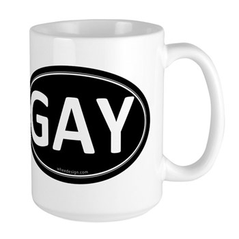 GAY Black Euro Oval Large Mug