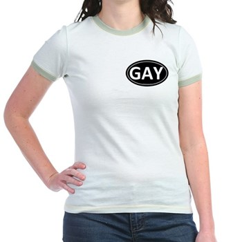 GAY Black Euro Oval Jr. Ringer T-Shirt
