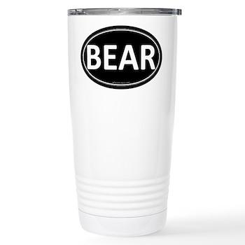 BEAR Black Euro Oval Stainless Steel Travel Mug