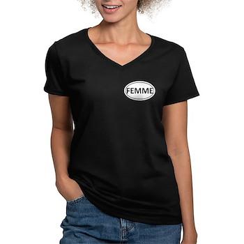 FEMME Euro Oval Women's V-Neck Dark T-Shirt